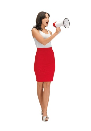 bright picture of angry woman with megaphone   photo