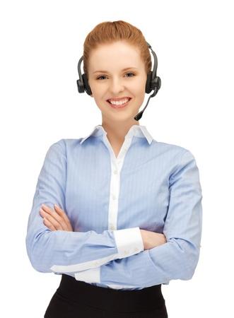 bright picture of friendly female helpline operator Stock Photo - 14313094
