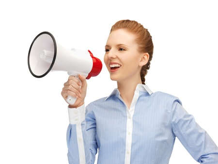 bright picture of happy woman with megaphone Stock Photo - 14313090