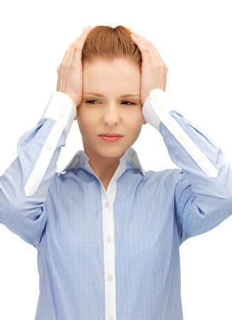 unhappy woman holding her head with hands Stock Photo - 14313235