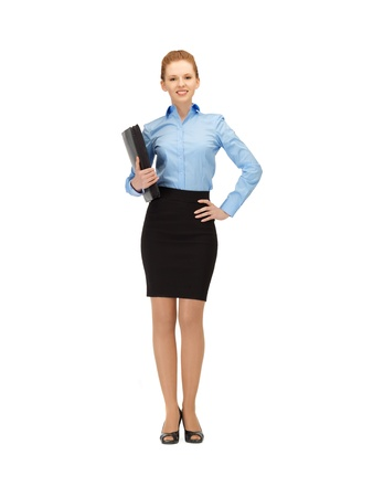 bright picture of happy woman with folder Stock Photo - 14312895