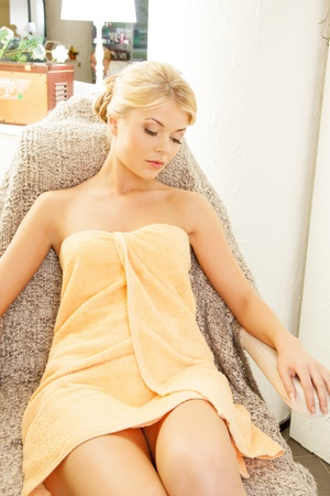 woman towel: picture of beautiful woman in spa salon