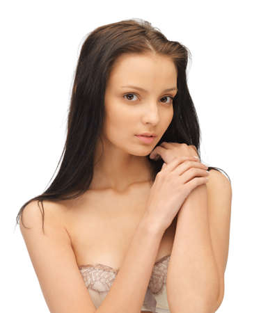 hand bra: face and hands of beautiful woman with long hair Stock Photo