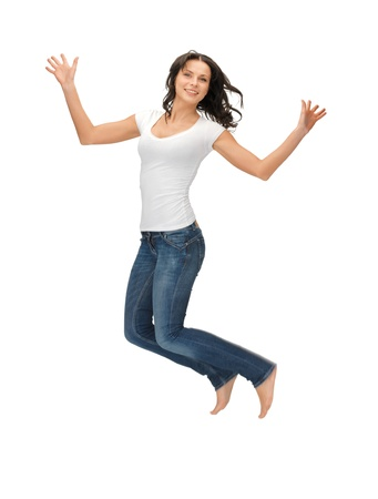 flying woman: bright picture of happy jumping woman in blank white t-shirt