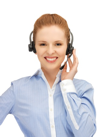 bright picture of friendly female helpline operator Stock Photo - 14333113