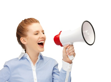 bright picture of happy woman with megaphone Stock Photo - 14333086