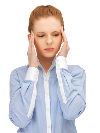 unhappy woman holding her head with hands Stock Photo - 14333111