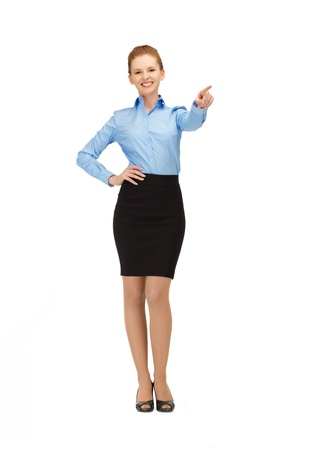 picture of smiling stewardess pointing her finger photo