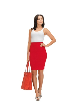 fancy bag: picture of lovely woman in dress with a bag