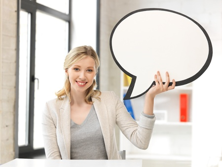 bright picture of smiling businesswoman with blank text bubble Stock Photo - 14361278