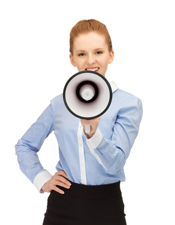 bright picture of happy woman with megaphone Stock Photo - 14361120