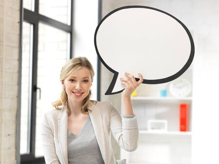 bright picture of smiling businesswoman with blank text bubble Stock Photo - 14391659