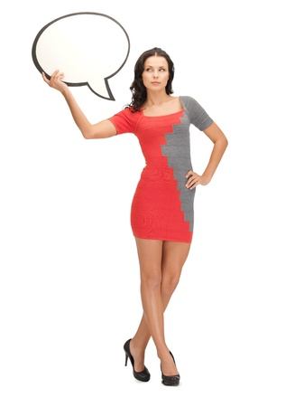 text bubble: picture of woman with blank text bubble