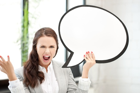 picture of screaming businesswoman with blank text bubble Stock Photo - 14391612