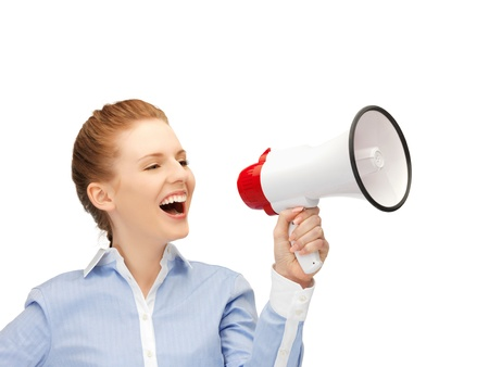 bright picture of happy woman with megaphone Stock Photo - 14464731