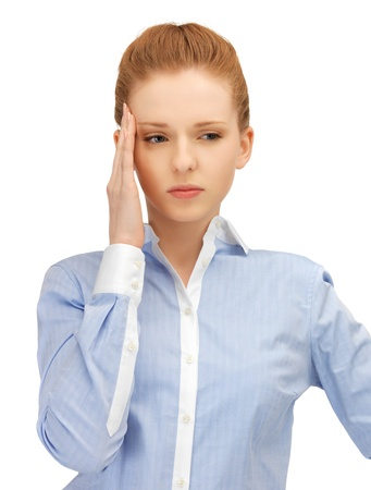 unhappy woman holding her head with hands Stock Photo - 14464794