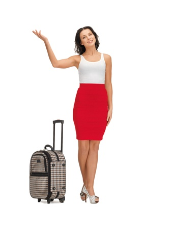 picture of happy woman with suitcase greeting photo