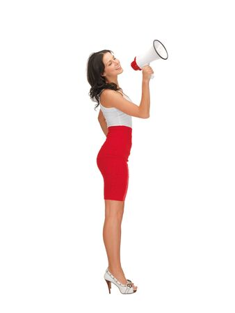 happy woman in dress with megaphone photo
