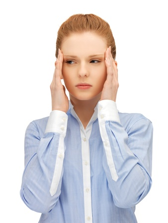 unhappy woman holding her head with hands  Stock Photo - 14504070