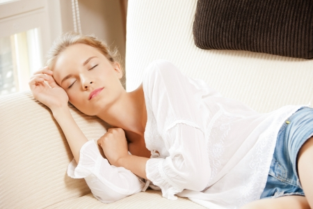 picture of lovely sleeping teenage girl at home photo