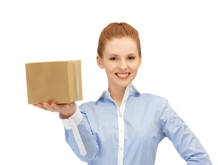 picture of happy woman with cardboard box Stock Photo