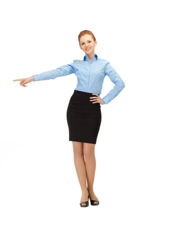 flight attendant: picture of smiling stewardess showing direction