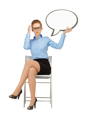 picture of pensive businesswoman with blank text bubble in specs photo
