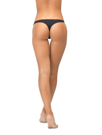 picture of female legs in black bikini panties photo