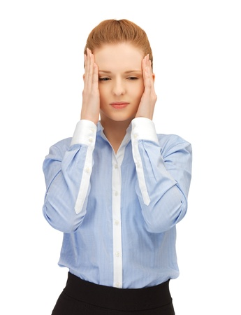 unhappy woman holding her head with hands  Stock Photo - 14538656