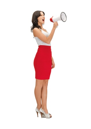 loudhailer: bright picture of angry woman with megaphone