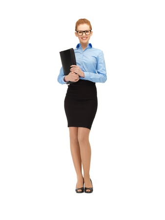 picture of happy woman with folder in specs photo