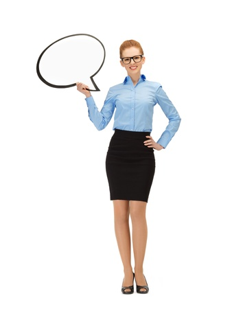 picture of smiling businesswoman with blank text bubble in specs photo