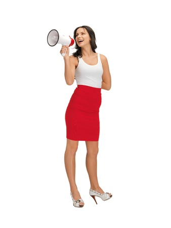 happy woman in blank white t-shirt with megaphone photo