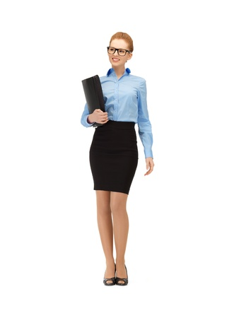 picture of happy woman with folder in specs Stock Photo - 14635211