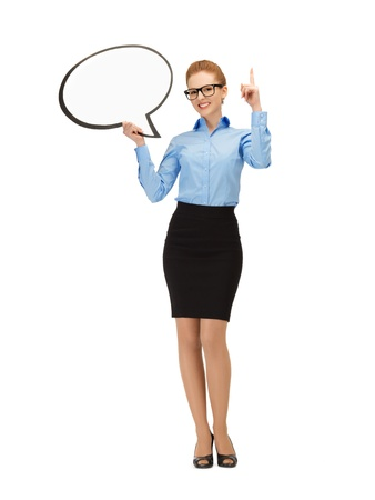 picture of smiling businesswoman with blank text bubble in specs Stock Photo - 14635296