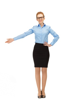 picture of businesswoman pointing her hand in specs Stock Photo - 14635274