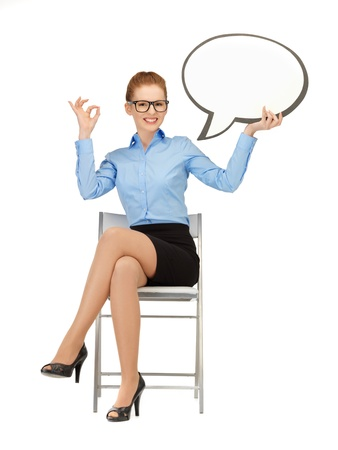picture of smiling businesswoman with blank text bubble in specs Stock Photo - 14635317