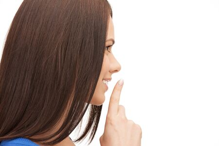 picture of happy woman with finger on lips Stock Photo - 16346134