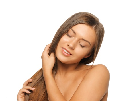 face and hands of beautiful woman with long hair Stock Photo - 14730362