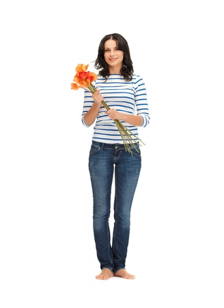 bright picture of beautiful woman with flowers Stock Photo - 14729755