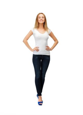 happy teenage girl in blank white t-shirt Stock Photo - 14729753