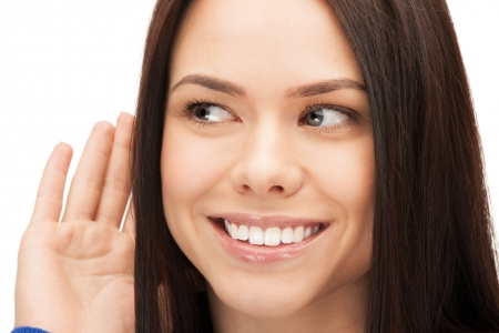 bright picture of happy woman listening gossip Stock Photo - 14730425