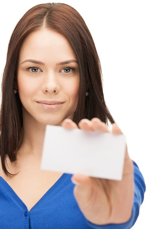 picture of attractive businesswoman with business card Stock Photo - 14730466