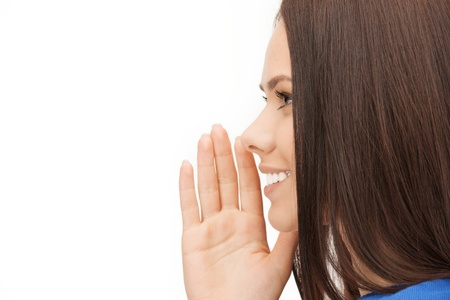 tattle: bright picture of woman whispering gossip