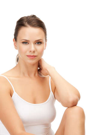 picture of calm beautiful woman in cotton undrewear Stock Photo - 14730381