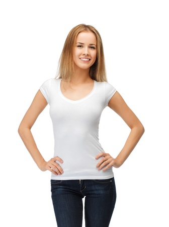 t shirt: happy teenage girl in blank white t-shirt Stock Photo