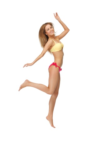 flying woman: bright picture of jumping woman in bikini