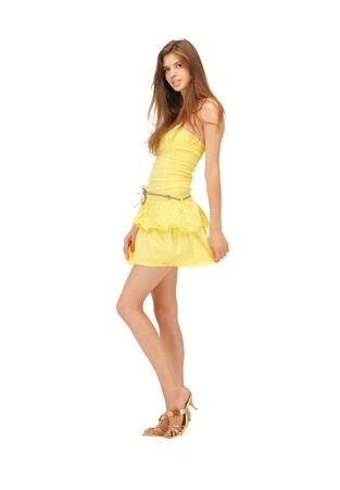 leggy girl: picture of lovely woman in elegant dress Stock Photo