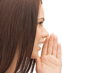 bright picture of woman whispering gossip photo