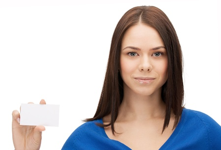 picture of attractive businesswoman with business card Stock Photo - 14759818